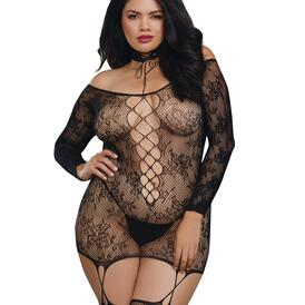 Plus Lace Patterned Knit Garter Dress with Stockings