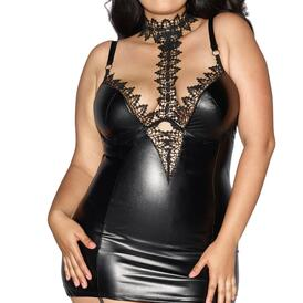 Plus Size Faux-Leather Garter Slip with Lace Choker
