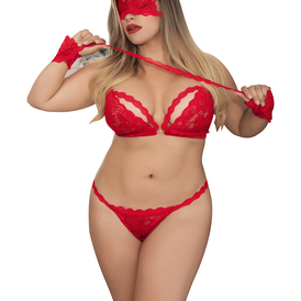 Plus Size Lace Bra Set with Wrist Restraints and Eye Mask