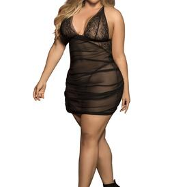 Plus Size Mesh Babydoll with Matching G-String