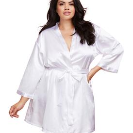 Plus Size Satin Charmeuse Bride Robe with Front Tie Belt