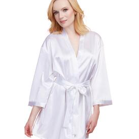 Satin Charmeuse Bride Robe with Adjustable Front Tie Closure