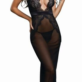 Sheer Mesh and Scalloped Lace Full Length Gown with G-String