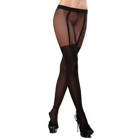 Sheer Pantyhose With Opaque Knitted Garters