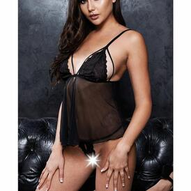Babydoll & Crotchless G-String - Black