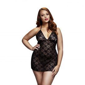 Baci - Black Lace Dress with Half Cups - Curvy
