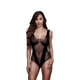 Baci - Sheer Fishnet Bodysuit - Black