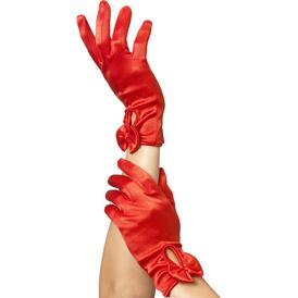 Gloves With Bow - Red