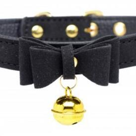 Golden Kitty Collar With Cat Bell - Black/Gold