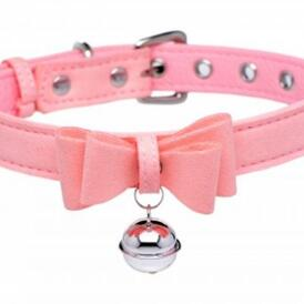 Golden Kitty Collar With Cat Bell - Pink