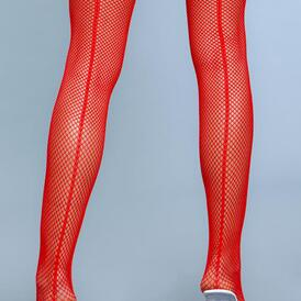 Great Catch Fishnet Backseam Stockings - Red