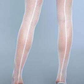 Great Catch Fishnet Backseam Stockings - White
