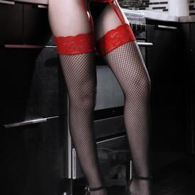 I Dare You Suspender Panty - Red / Black