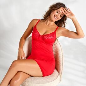 Jolierose Chemise & Thong - Red