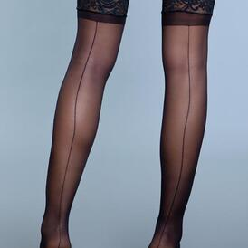 Keep A Secret Thigh High Stockings - Black