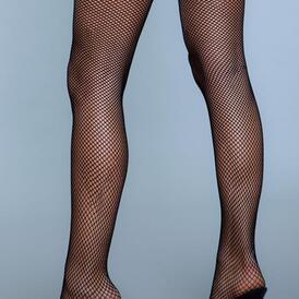 Kiss Goodnight Thigh High Stockings - Black