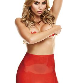 Latex Mini Skirt With Open Back - Red