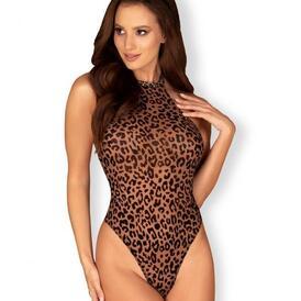 Leocatia Thong Bodysuit With Hairband - Leopard Print