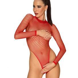 Long Sleeved Fishnet Thong Bodysuit - Red