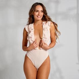 Madeline Thong Bodysuit - Off-White/Gold