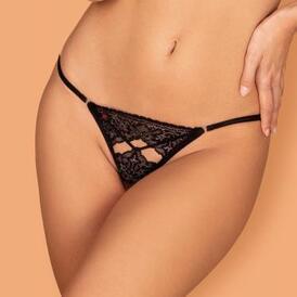 Meshlove Crotchless Thong - Black