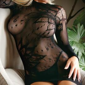 Mini Dress Made From Mesh Fabric With Thong - Black