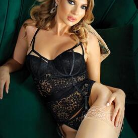 Moonlight Lace Garter Corset With Thong