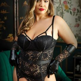 Moonlight Lace Garter Corset With Thong - Curvy
