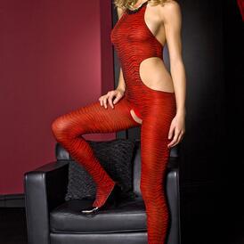 Music Legs Catsuit Zebra Print - Red/Black