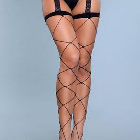 Night Shift Thigh High Stockings With Garter Belt