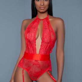 Ophelia Lace Garter Bodysuit - Red