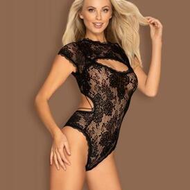 Peonesia Lace Bodysuit - Black