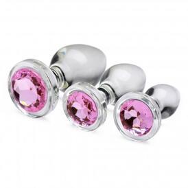 Pink Gem Glass Anal Plug Set