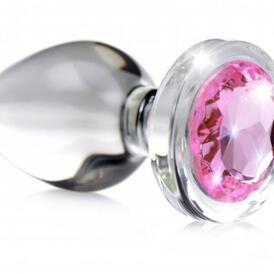 Pink Gem Glass Anal Plug With Gem - Small