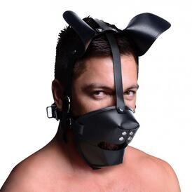 Puppy Play Mask With Ball Gag - Black