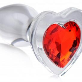 Red Heart Glass Anal Plug With Gem - Large