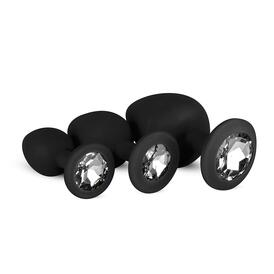Silicone Buttplug Set with Diamond - Black