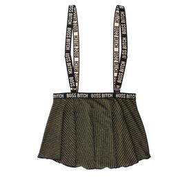 Skater Skirt With Suspenders - Black/Gold