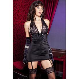 Suspender Dress With Lace - Black