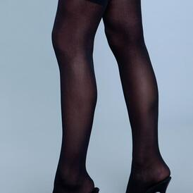 Thigh High Nylon Stockings - Black