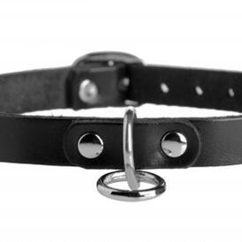 Unisex Leather Choker with O-Ring
