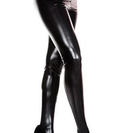 Wetlook pantyhose - black