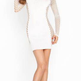 White Mini Dress With Mesh Sleeves